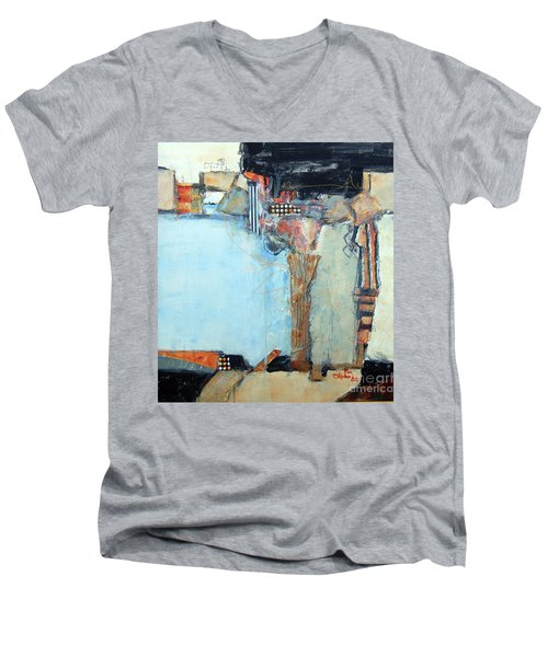 Columns Men's V-Neck T-Shirt by Ron Stephens