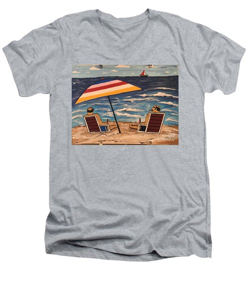 Comb Over Brothers Men's V-Neck T-Shirt by Jeffrey Koss