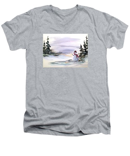 Men's V-Neck T-Shirt featuring the painting Come And Play With Me by Dorothy Maier