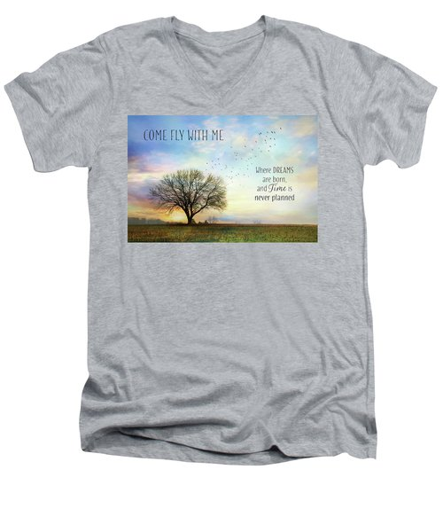 Men's V-Neck T-Shirt featuring the photograph Come Fly With Me by Lori Deiter