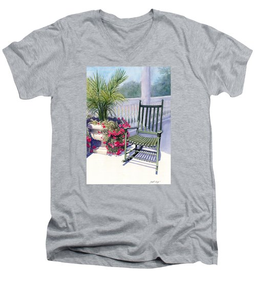 Men's V-Neck T-Shirt featuring the painting Come Sit A Spell by Janet King