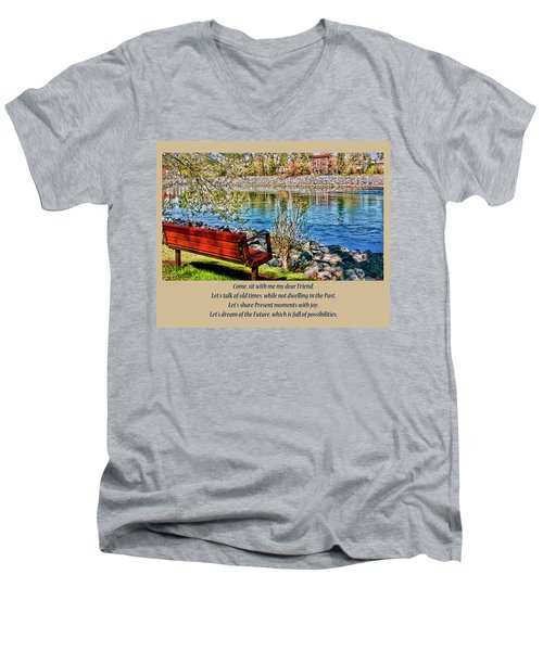 Come, Sit With Me My Dear Friend Men's V-Neck T-Shirt by Rhonda McDougall