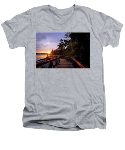 Come Walk With Me Men's V-Neck T-Shirt by Keith Boone