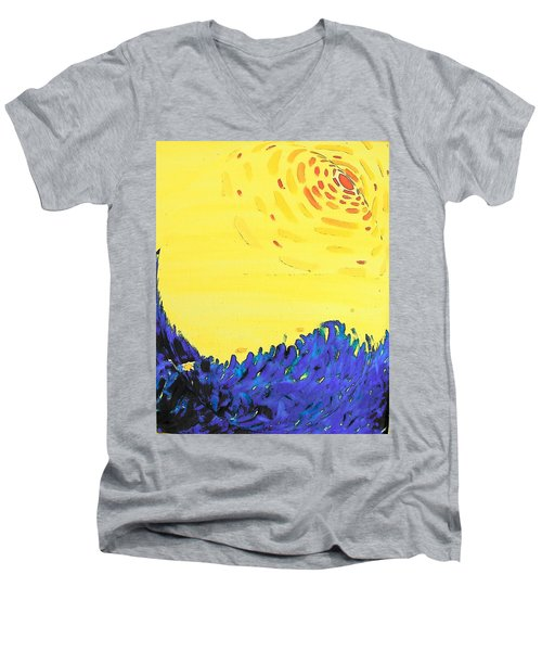 Men's V-Neck T-Shirt featuring the painting Comet by Lenore Senior
