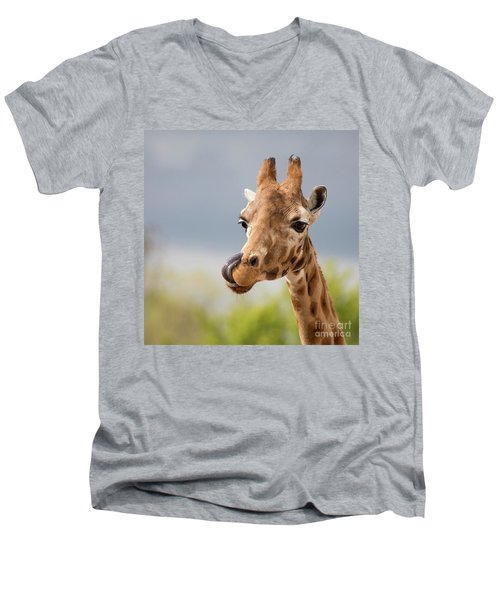 Comical Giraffe With His Tongue Out.  Men's V-Neck T-Shirt