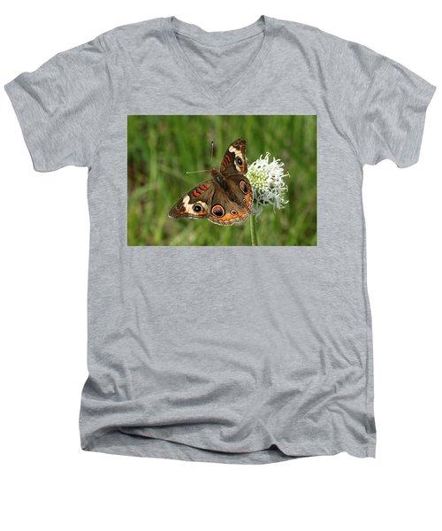 Common Buckeye Butterfly On Wildflower Men's V-Neck T-Shirt