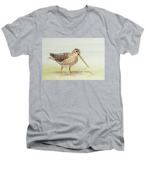 Men's V-Neck T-Shirt featuring the painting Common Snipe Wading by Thom Glace