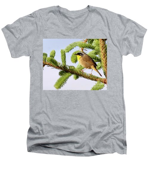 Men's V-Neck T-Shirt featuring the photograph Common Yellow-throat by Debbie Stahre