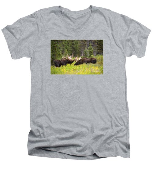 Men's V-Neck T-Shirt featuring the photograph The Competition  by Aaron Whittemore