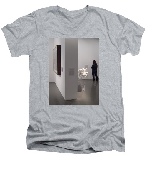 Composition In White, Black And Gray, Men's V-Neck T-Shirt by Esther Newman-Cohen