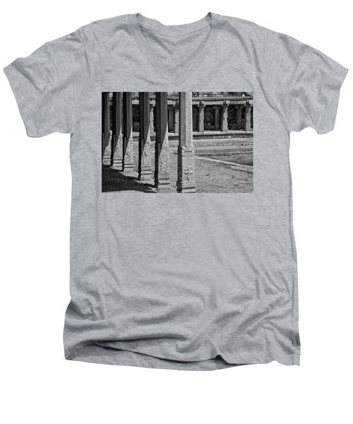 Men's V-Neck T-Shirt featuring the photograph Composition Of Pillars, Hampi, 2017 by Hitendra SINKAR
