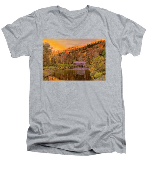 Men's V-Neck T-Shirt featuring the digital art Comstock Bridge by John Selmer Sr