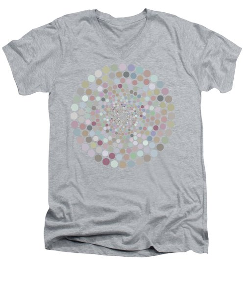 Men's V-Neck T-Shirt featuring the painting Vortex Circle - Gray by Hailey E Herrera