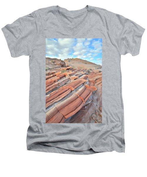 Concentric Circles Of Sandstone At Valley Of Fire Men's V-Neck T-Shirt by Ray Mathis