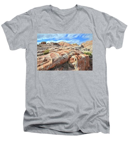 Concentric Color In Valley Of Fire Men's V-Neck T-Shirt by Ray Mathis