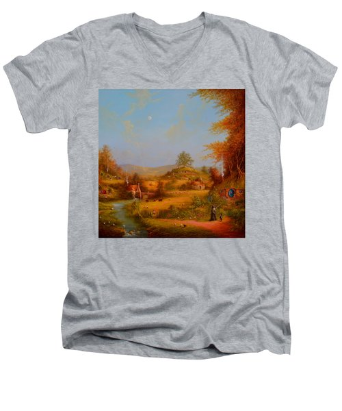 Concerning Hobbits Men's V-Neck T-Shirt by Joe Gilronan