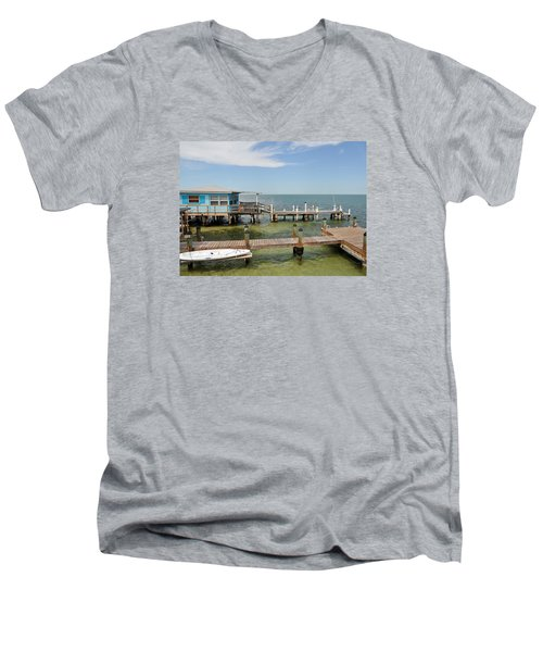 Conch Key Blue Cottage Men's V-Neck T-Shirt