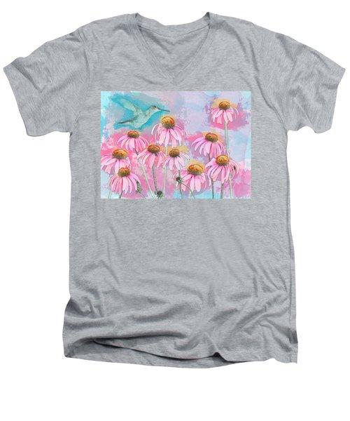 Coneflower Hummingbird Watercolor Men's V-Neck T-Shirt