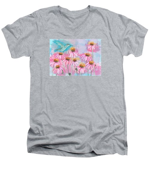Coneflower Hummingbird Watercolor Men's V-Neck T-Shirt