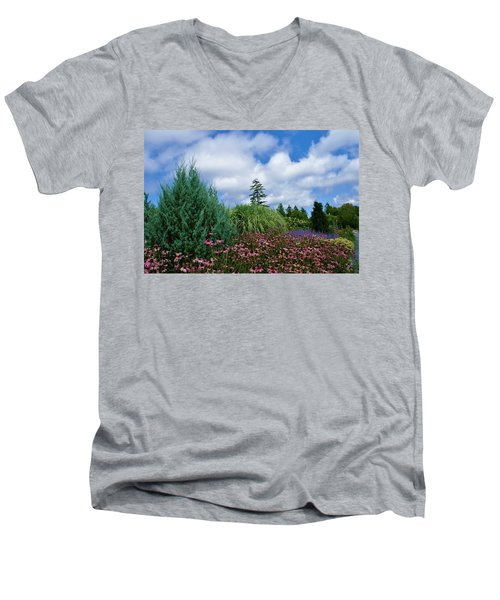 Coneflowers And Clouds Men's V-Neck T-Shirt by Lois Lepisto