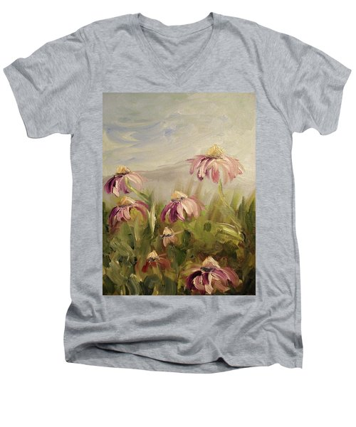 Men's V-Neck T-Shirt featuring the painting Coneflowers by Donna Tuten