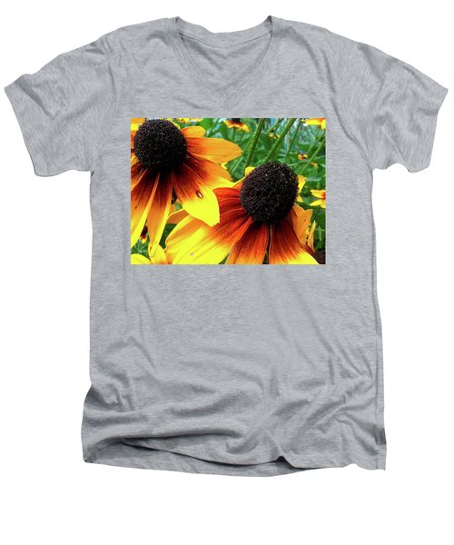 Men's V-Neck T-Shirt featuring the photograph Coneflowers by Robert Knight