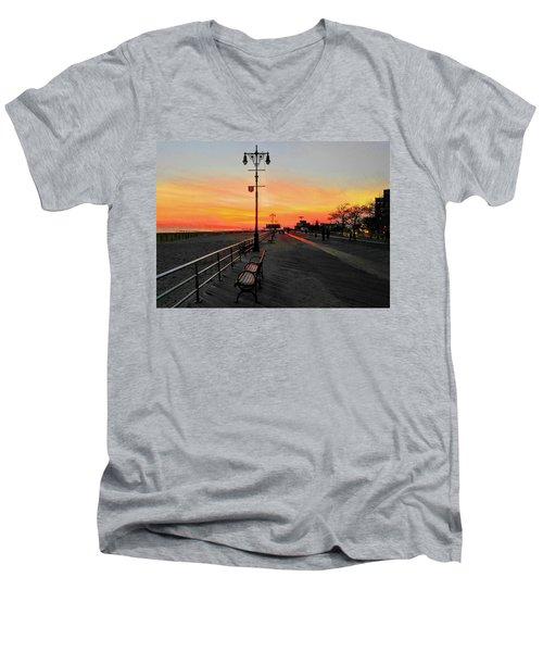 Coney Island Boardwalk Sunset Men's V-Neck T-Shirt