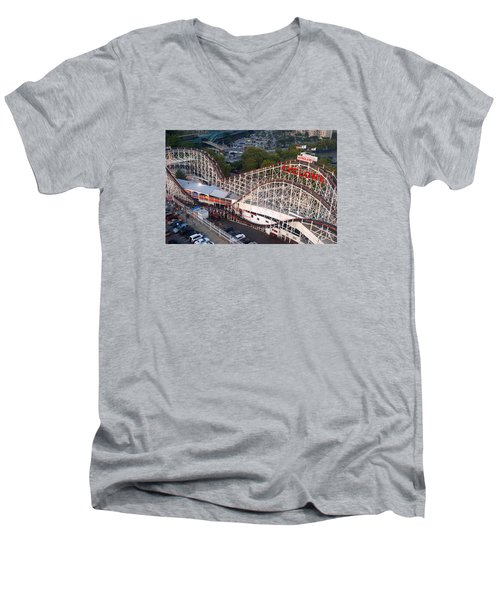 Coney Island Cyclone Men's V-Neck T-Shirt by James Kirkikis