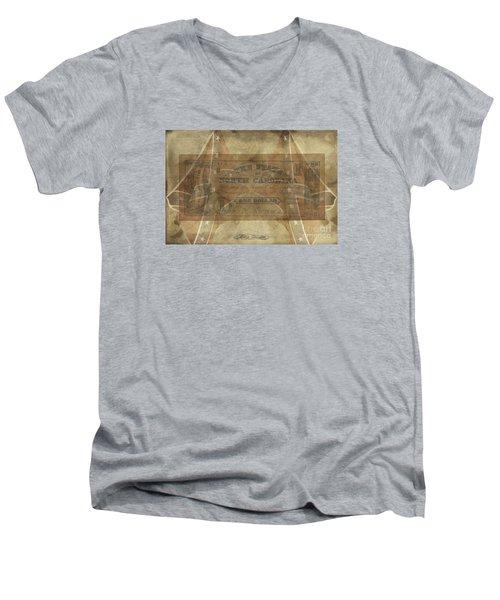 Men's V-Neck T-Shirt featuring the digital art Confederate $1 North Carolina Note by Melissa Messick