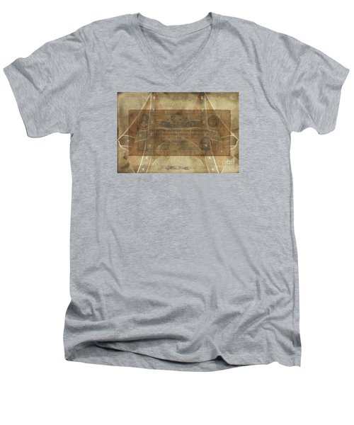 Men's V-Neck T-Shirt featuring the digital art Confederate Cotton Planters Loan$5 Note by Melissa Messick