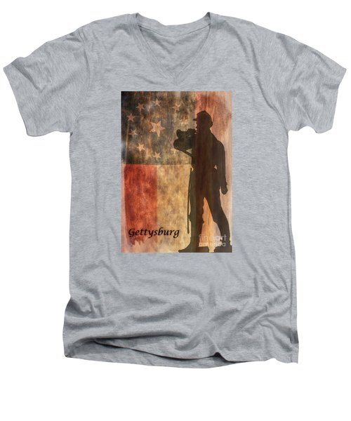 Men's V-Neck T-Shirt featuring the digital art Confederate Flag And Bugler Gettysburg  by Randy Steele