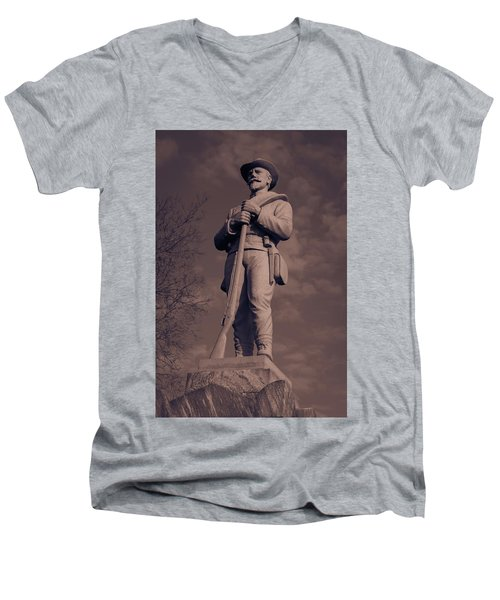 Confederate Statue  Standing Guard Men's V-Neck T-Shirt