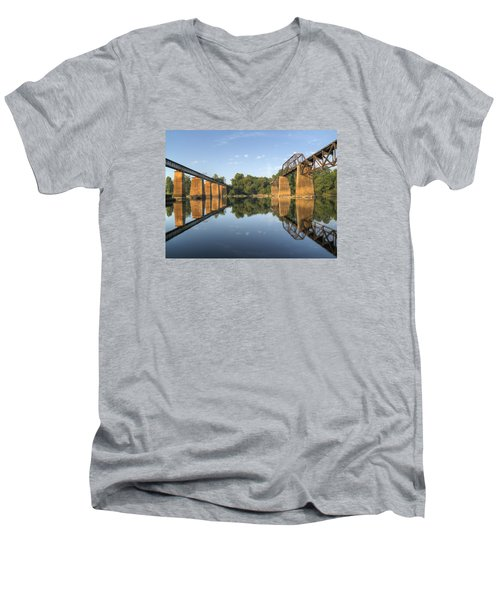 Congaree River Rr Trestles - 1 Men's V-Neck T-Shirt by Charles Hite