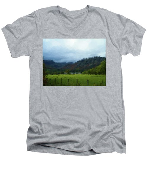 Coniston Watercolour Sketch Men's V-Neck T-Shirt