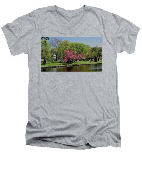 Connecticut Men's V-Neck T-Shirt by John Scates