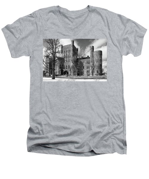 Men's V-Neck T-Shirt featuring the photograph Connecticut Street Armory 3997b by Guy Whiteley