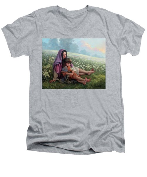Men's V-Neck T-Shirt featuring the painting Consider The Lilies by Greg Olsen