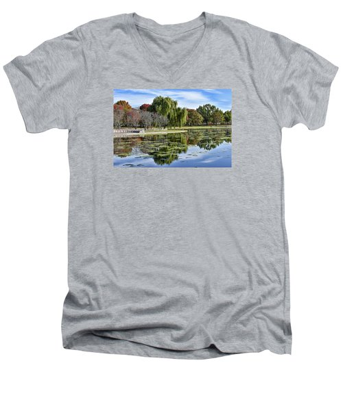 Constitution Gardens On The National Mall Men's V-Neck T-Shirt by Brendan Reals