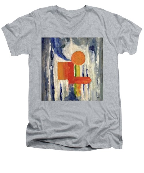 Men's V-Neck T-Shirt featuring the painting Construction by Victoria Lakes