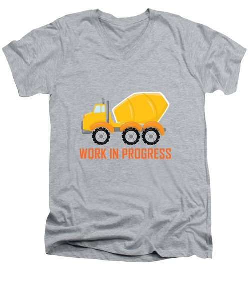 Construction Zone - Concrete Truck Work In Progress Gifts - Grey Background Men's V-Neck T-Shirt