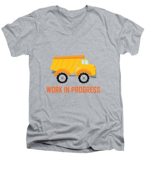 Construction Zone - Dump Truck Work In Progress Gifts - Grey Background Men's V-Neck T-Shirt