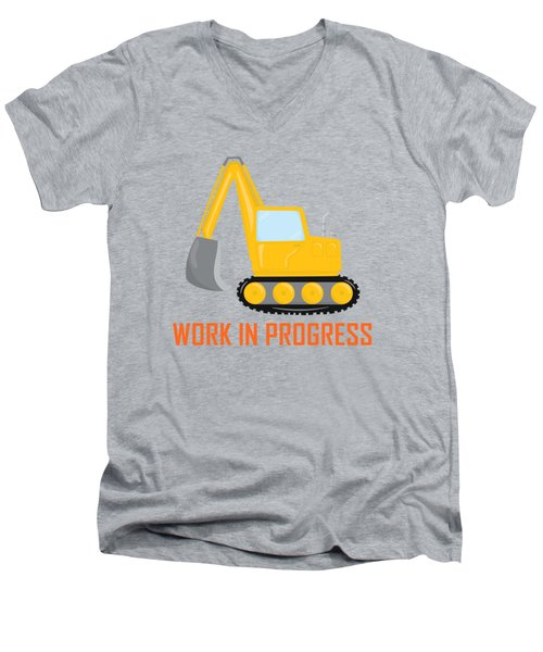 Construction Zone - Excavator Work In Progress Gifts - Grey Background Men's V-Neck T-Shirt