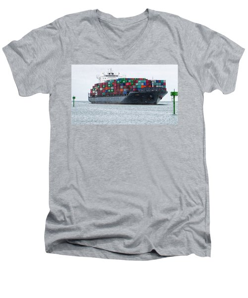 Container Ship Entering Durban Harbour Men's V-Neck T-Shirt