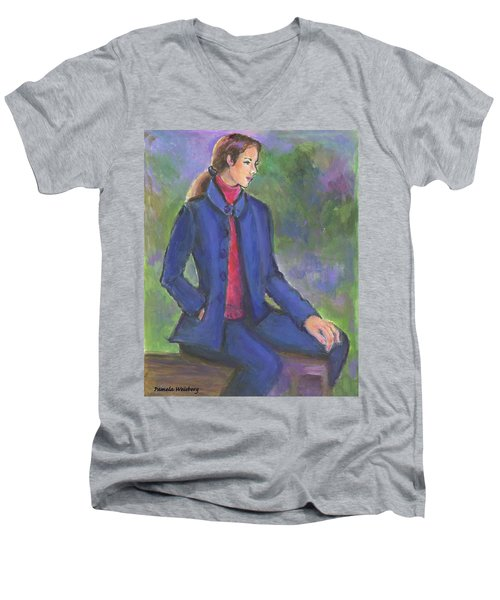 Contemplating Men's V-Neck T-Shirt