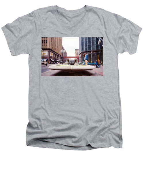 Contemplating The Fountain At 8th And Nicollet. Men's V-Neck T-Shirt