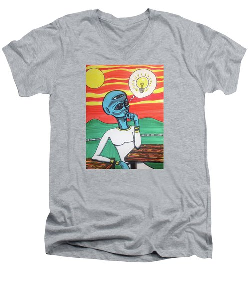 Men's V-Neck T-Shirt featuring the painting Contemplative Alien by Similar Alien