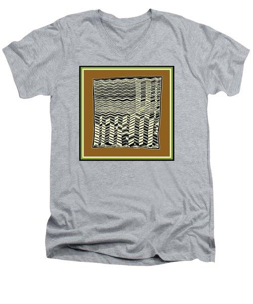 Men's V-Neck T-Shirt featuring the digital art Contemporary African Tribal Kuba Design  by Vagabond Folk Art - Virginia Vivier