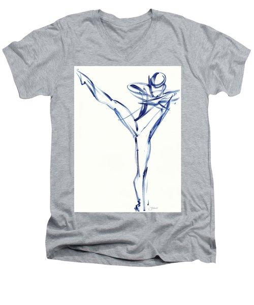 Contemporary Ballet Dancer, Blue Men's V-Neck T-Shirt