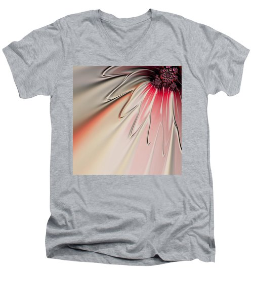 Men's V-Neck T-Shirt featuring the digital art Contemporary Flower by Bonnie Bruno