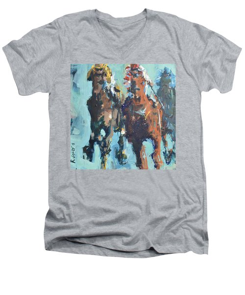 Contemporary Horse Racing Painting Men's V-Neck T-Shirt by Robert Joyner